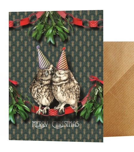Two owls card with matching wrapping paper