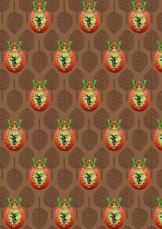 Stag on bauble wrapping paper