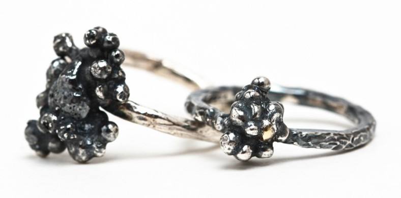 oxidised silver moss rings