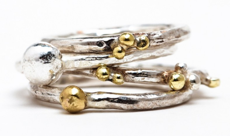 Silver and 18ct gold rings