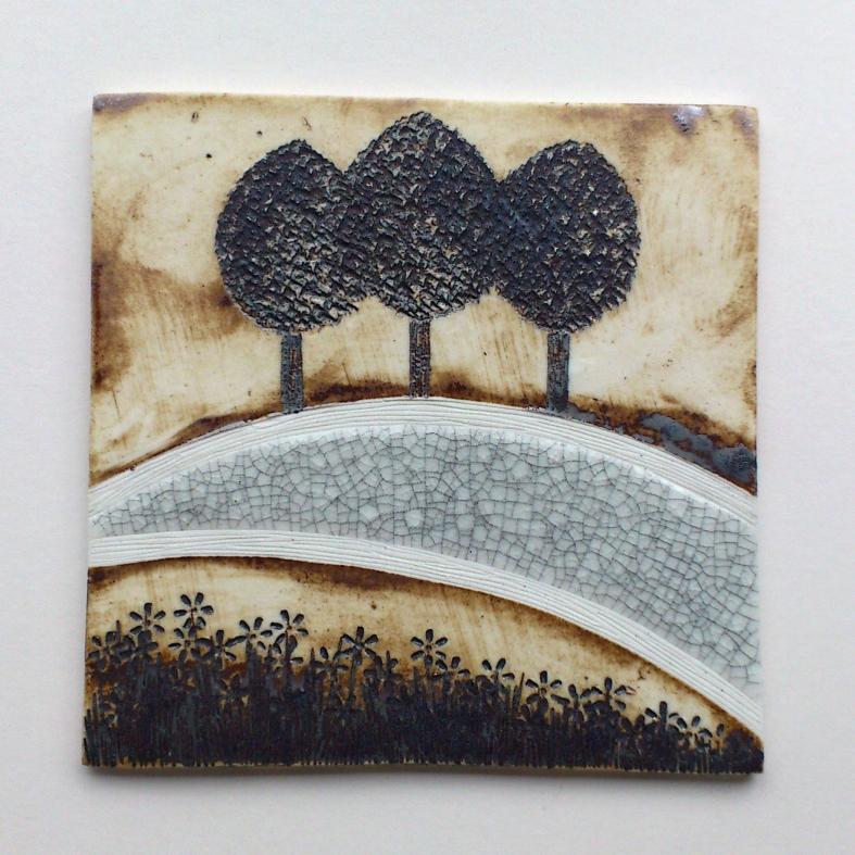 Three trees - ceramic wall plaque