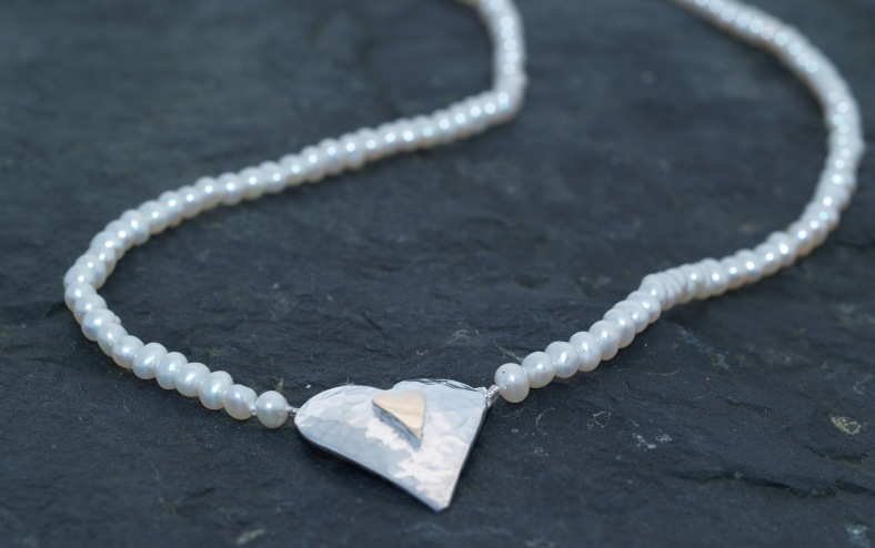Silver and 9ct heart of natural white pearls