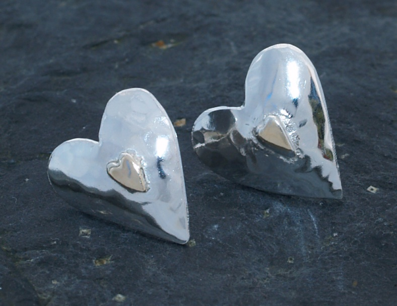 Silver and 9ct gold studs