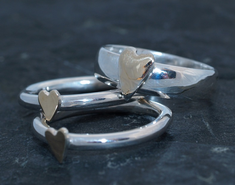 Silver and 9ct gold heart rings