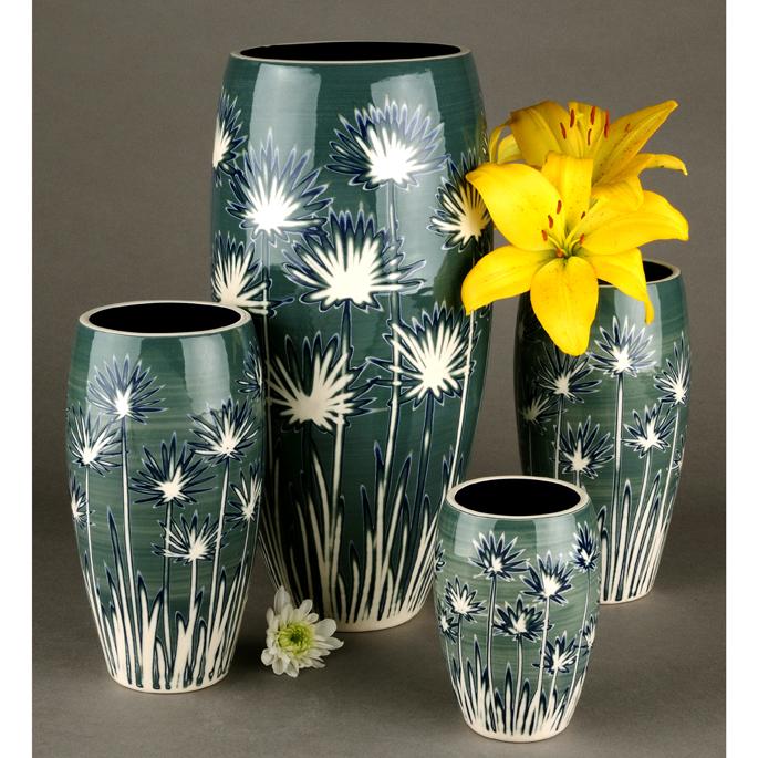 Dandelion Ceramic Curved Vases