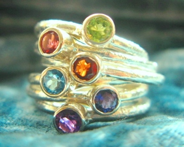 Gemstone stacking rings