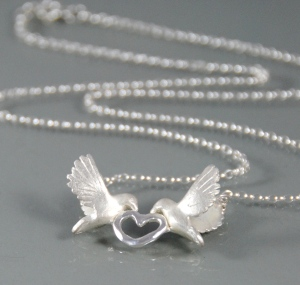 Alice Stewart Silver Doves Necklace