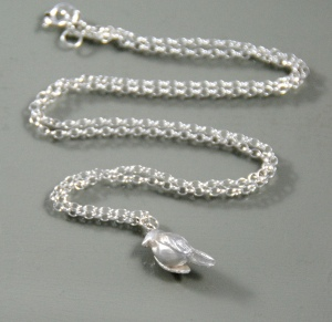 Silver robin necklace