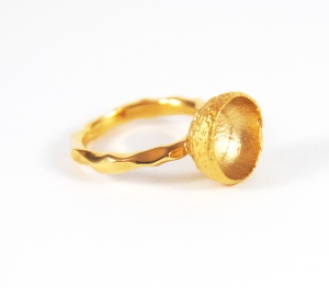 18ct gold plated Acorn ring