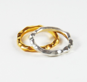 Silver and 18ct gold plated textured rings