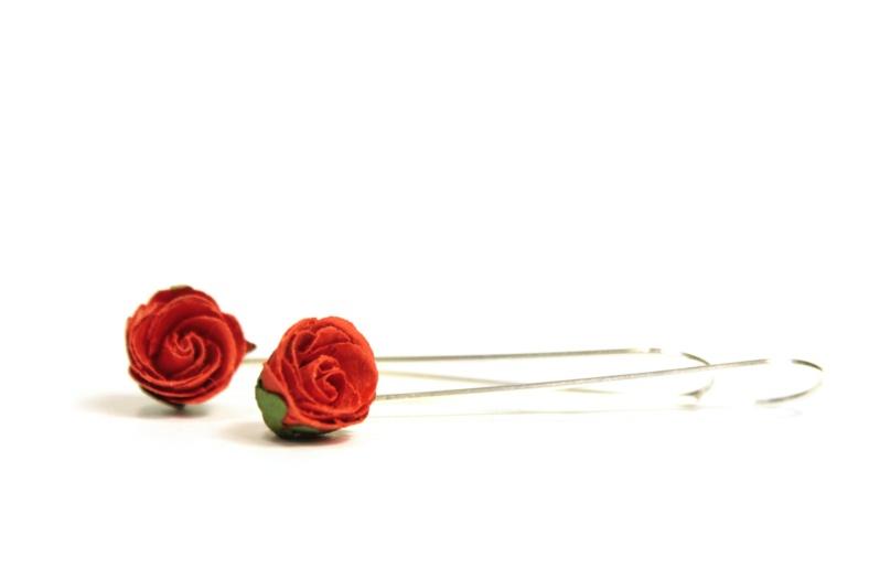 Long hoop rosebud earrings