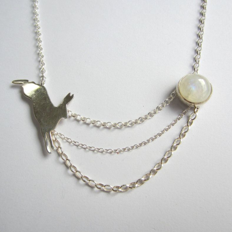Silver Hare with Moonstone necklace
