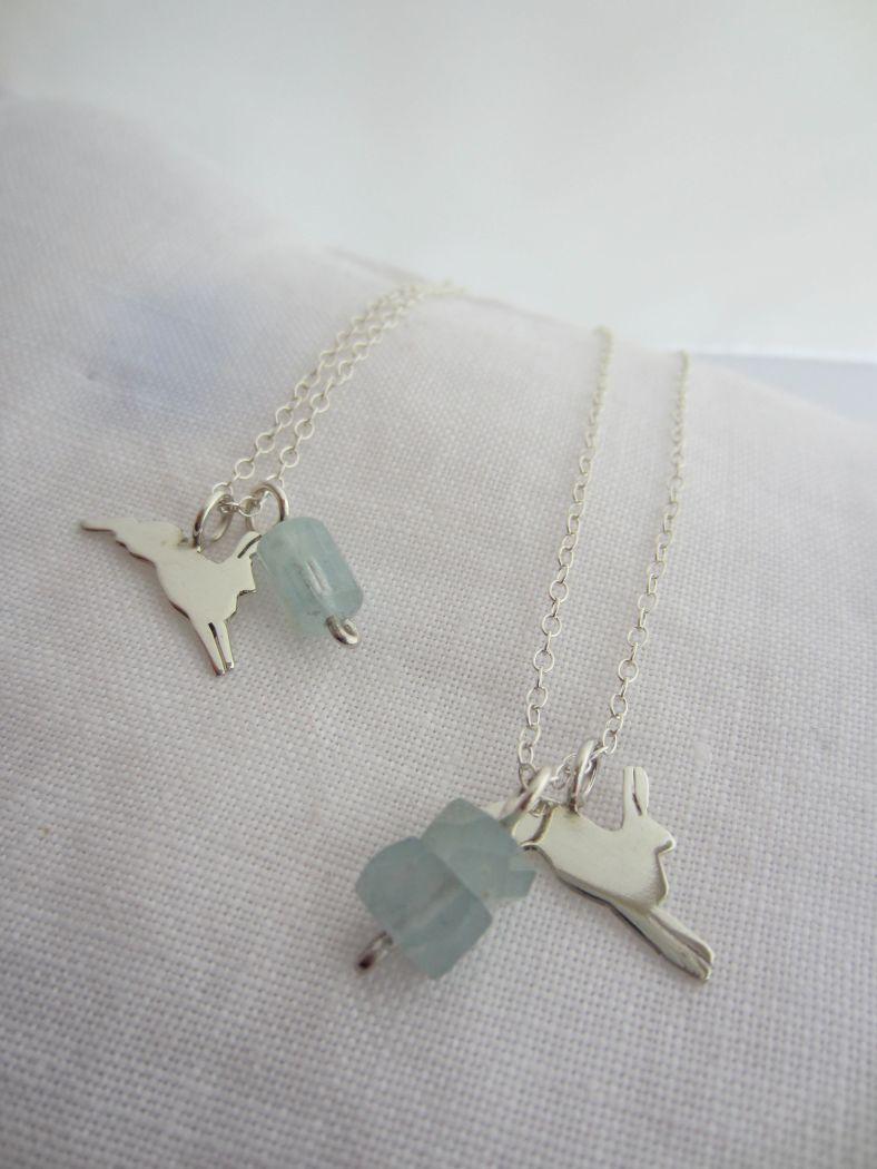Arctic Hare Necklaces with Aquamarine