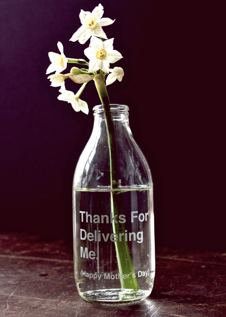 'Thanks for Delivering Me' etched milk bottle - Andy Poplar