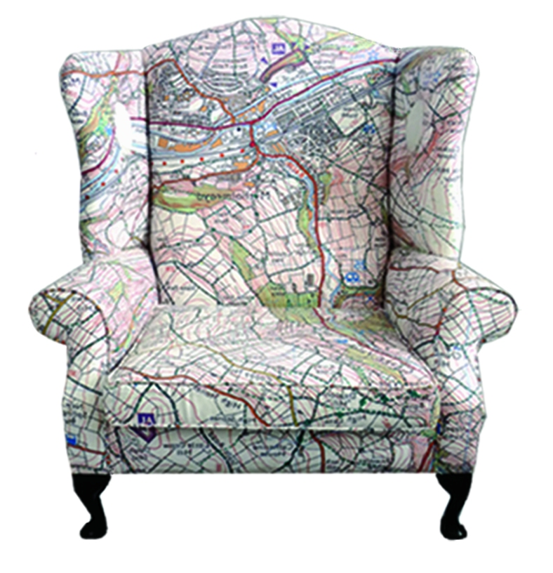 Map chair currently residing in Hebden Bridge Town Hall