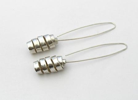 Wrapped silver long earrings