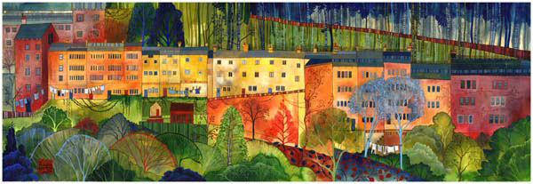 Bridge Lanes painting by Kate Lycett, limited edition prints are available