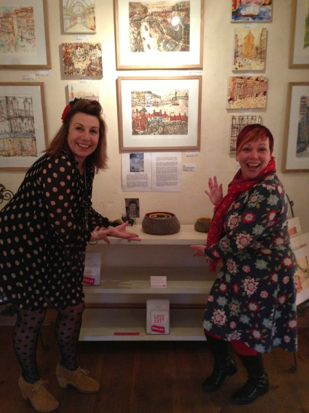 Alison with Jenny Tidman and her fabulous felted bowls