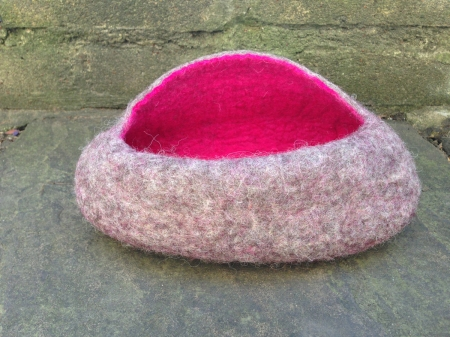 Felted bowl with pink inner