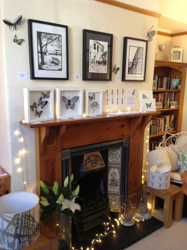 Roz's papercuts adorned the fireplace beautifully and would be perfect in Heart Gallery as my customers love papercut work