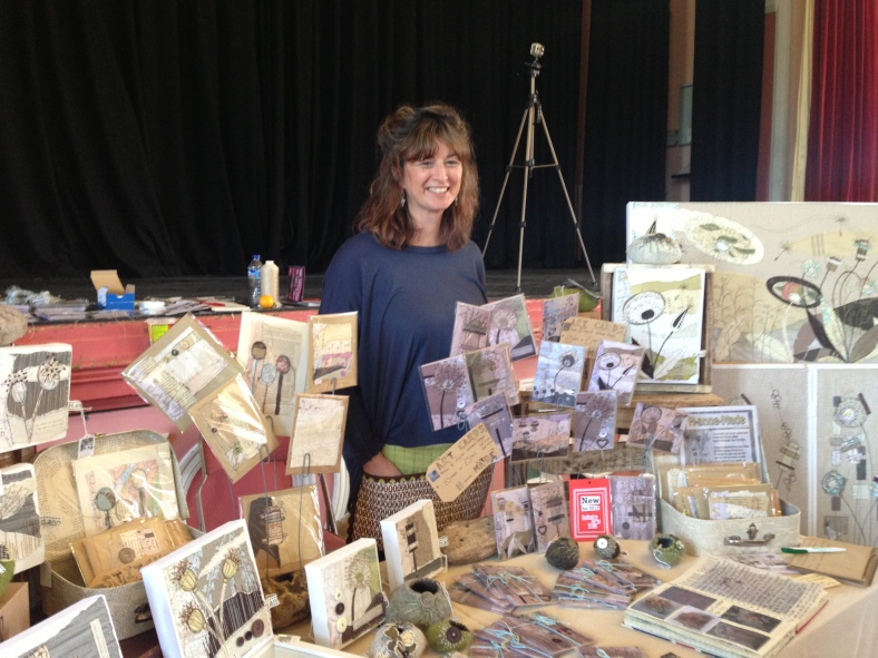 I met the lovely Anne Brook, a textile artist who makes the most amazing stitched canvases in muted colourways that will sit lovely in Heart Gallery