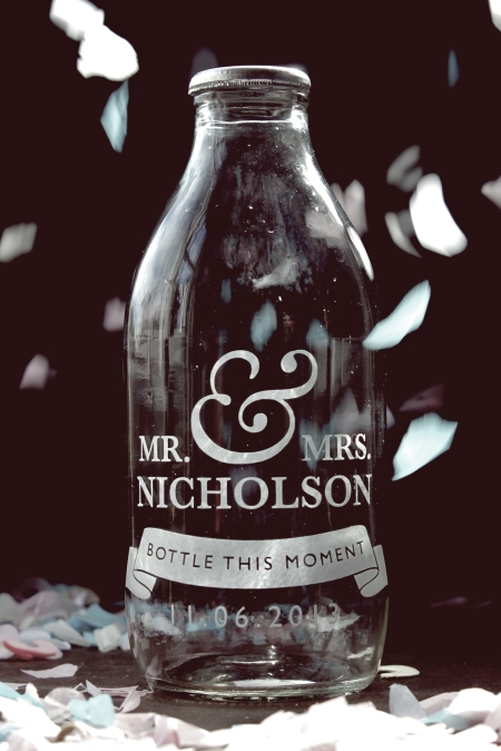Mr and Mrs milk bottles available for commission as a keepsake of your special day.