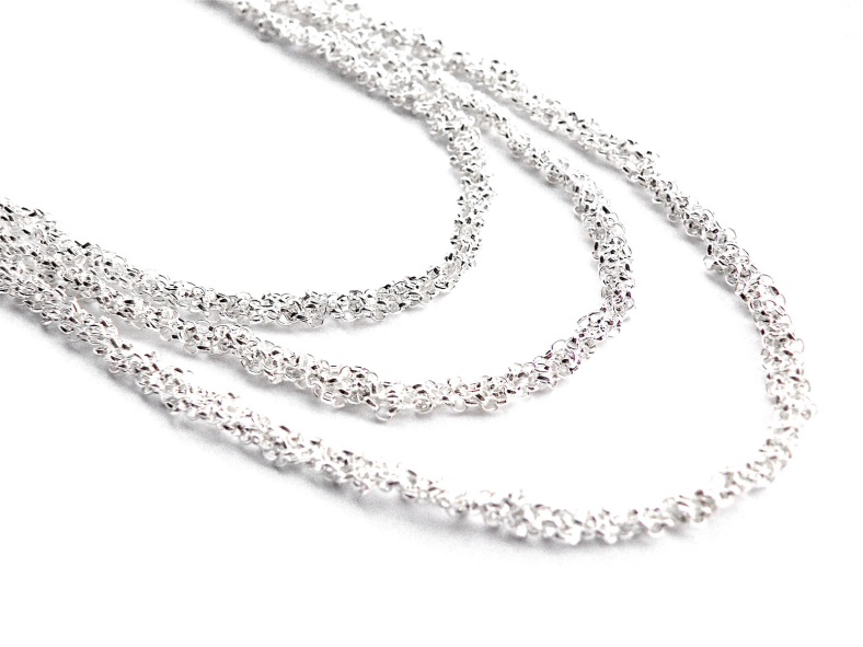 3 tier crochet silver chain necklace