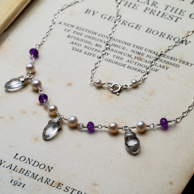 amethyst pearl silver necklace