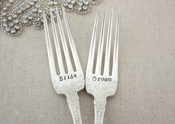 bride and groom forks - perfect for that first slice of cake!