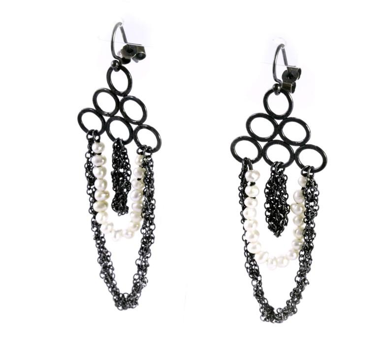 Chandelier oxidised silver earrings with pearls