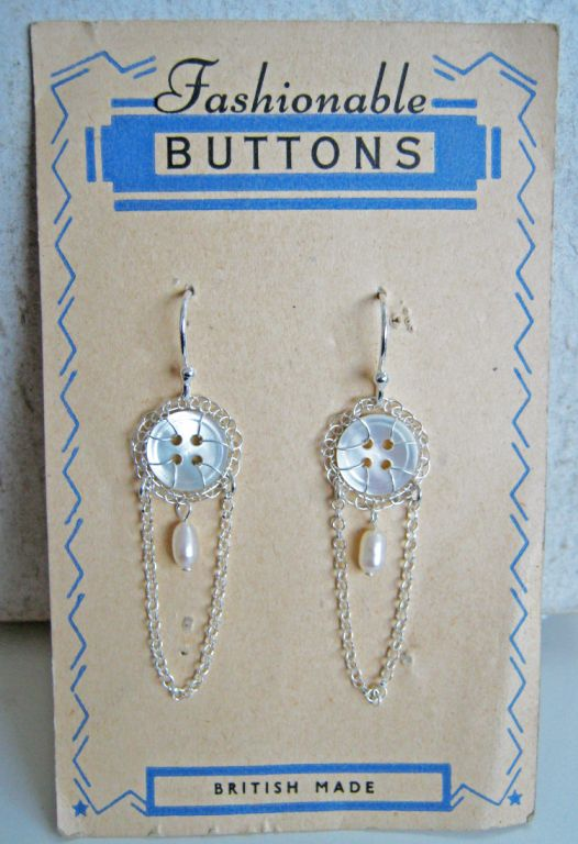 Chandelier vintage button earrings