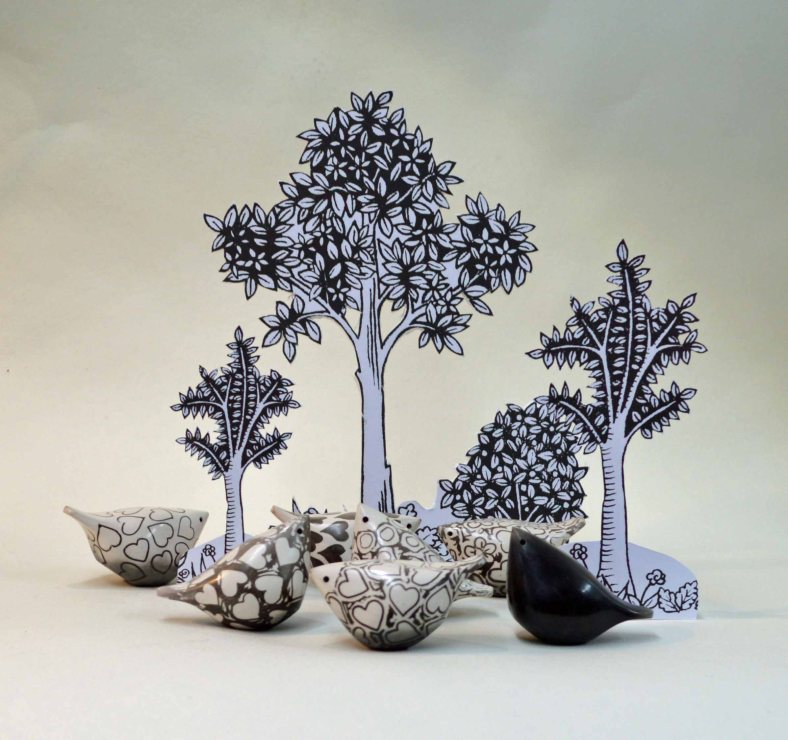 Collection of raku birdies - Debbie Barber
