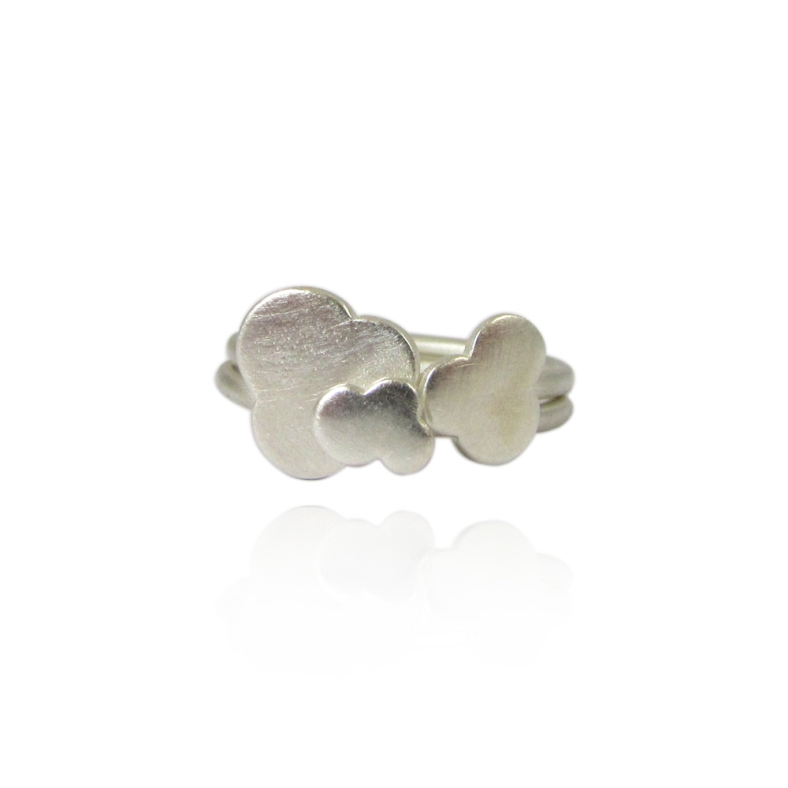 Little Fluffy Clouds silver stacking rings
