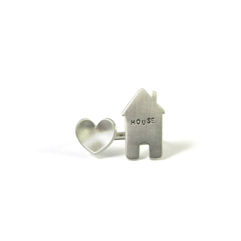 Love house silver ring