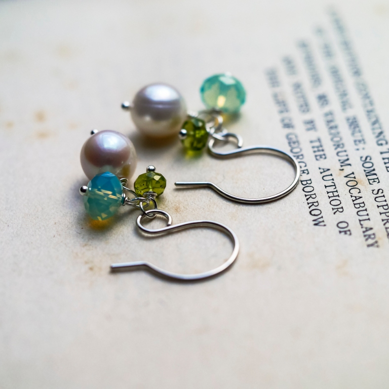pearl peridot swarovski cluster earrings