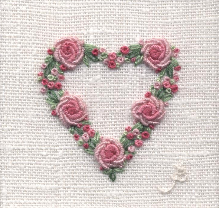 Rose Heart -  hand embroidery