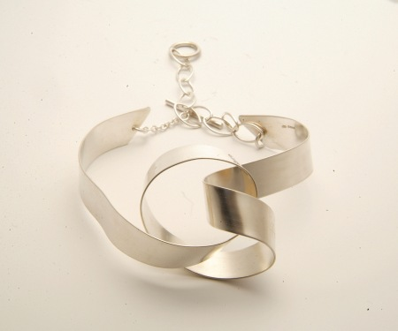 Large silver Ribbon Knot bangle
