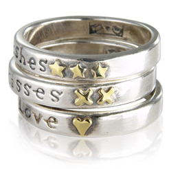 One Love Two Wishes Three Kisses ring