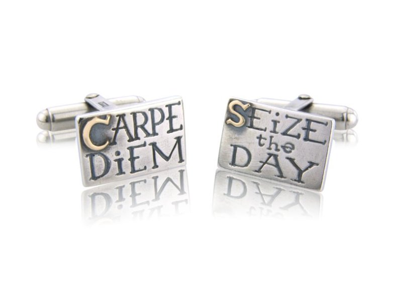 Sieze The Day silver and gold cufflinks