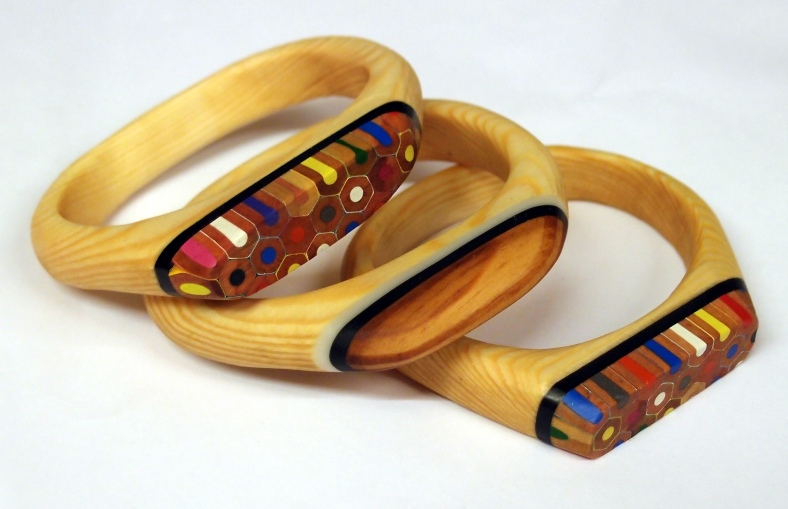 Bangles using reclaimed wood and pencils