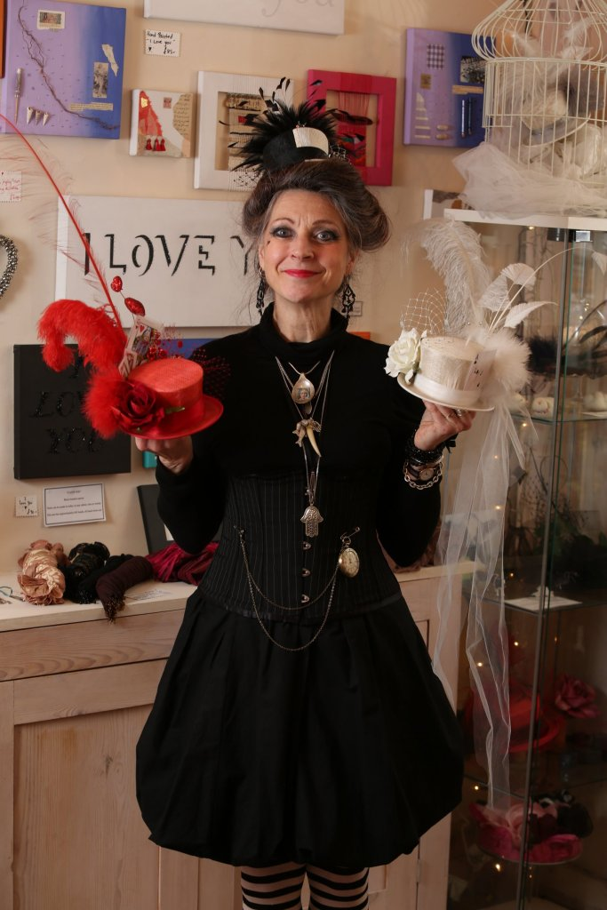 Heather Wilson, the Mad Hatter at Heart.  Photograph taken by local photographer Steve Morgan