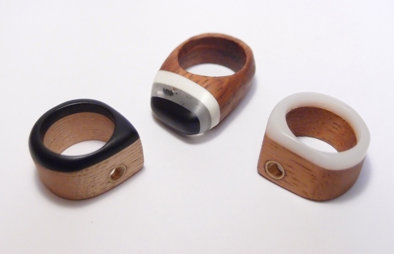Layered rings using recycled wood and acrylic scraps