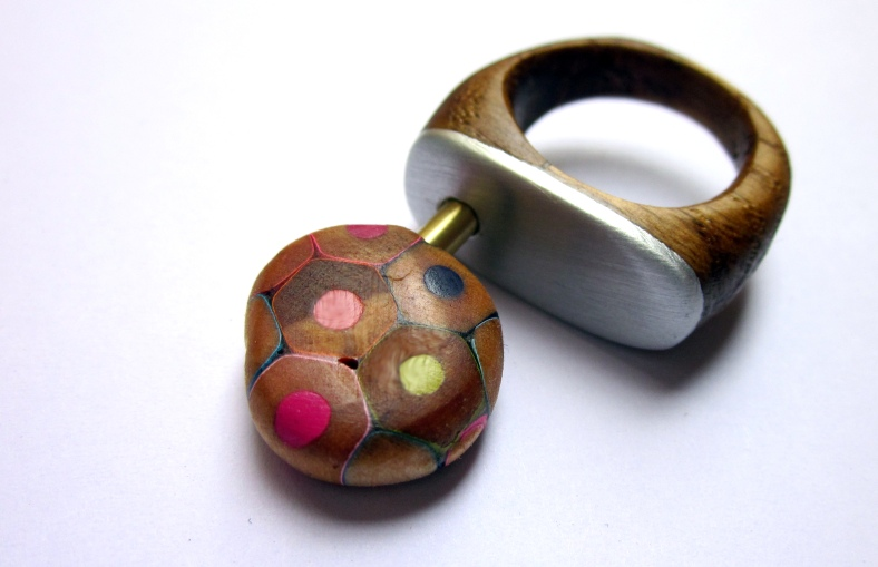 Lollypop Ring - recycled wood, resin and pencils