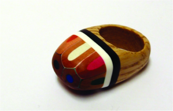 Ring - recycled wood, resin and pencils