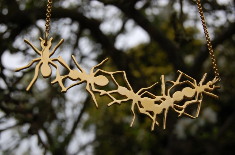 Gold Plated Ants Necklace