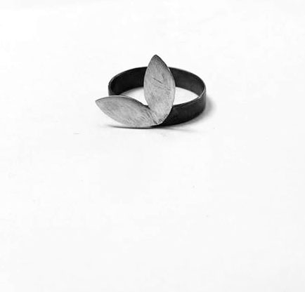 Leafy Ring - silver and oxidised silver