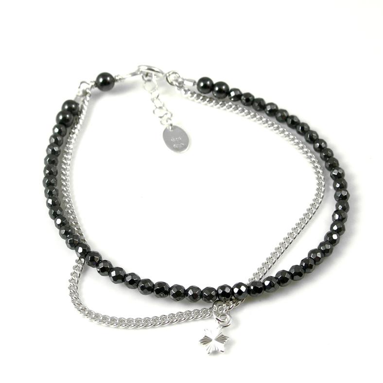 Heamatite and silver 'friendship' bracelet