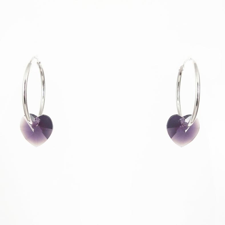 Crystal heart hoops