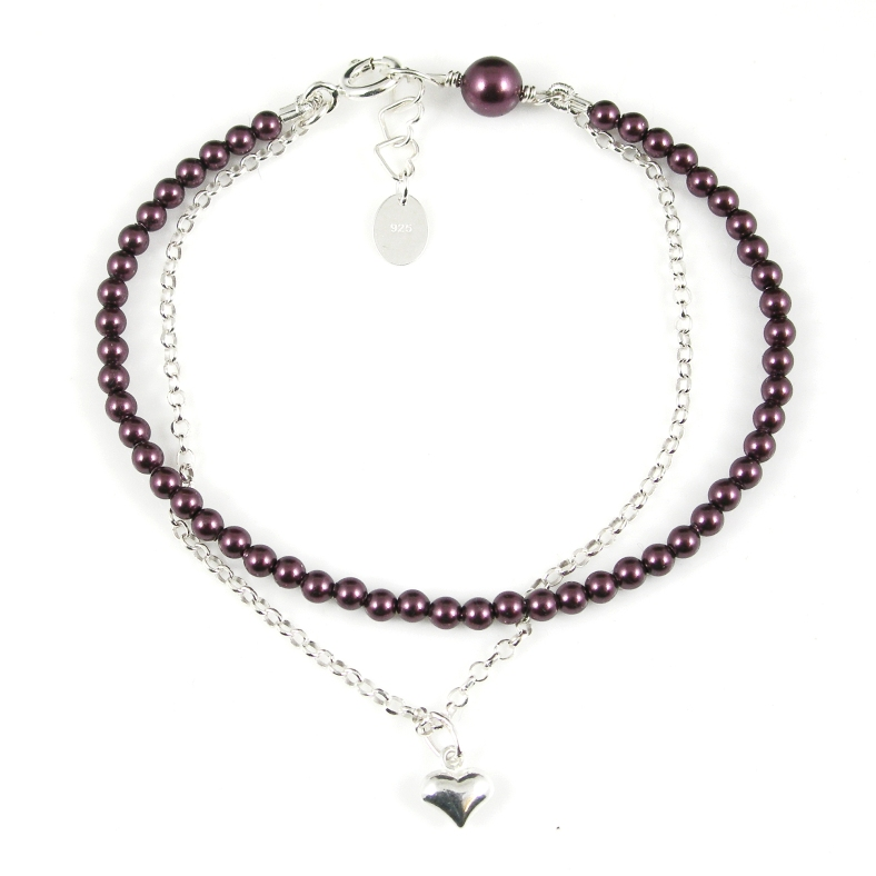 Burgundy pearl and silver 'friendship' bracelet