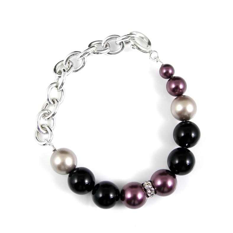 Silver, swarovski pearl and diamante bracelet